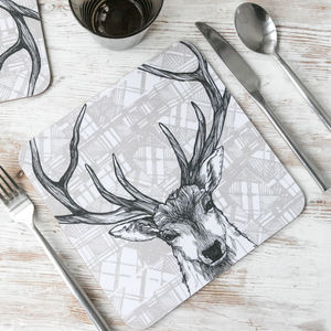 'Tartan Stag' Scottish Set Of Four Placemats - kitchen