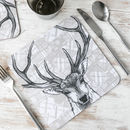 'Tartan Stag' Scottish Set Of Four Placemats