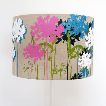 Mixed Coloured Floral Screen Printed Linen Lampshade