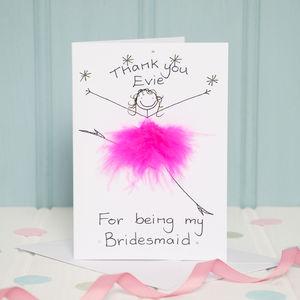 Handmade Personalised Thank You Bridesmaid Card - wedding cards