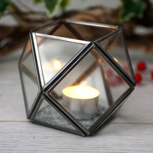 Geometric Glass Tealight Holder - room decorations