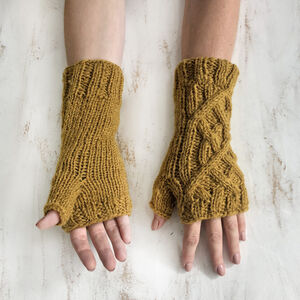 Fair Trade Cable Knit Wool Lined Wristwarmer Gloves