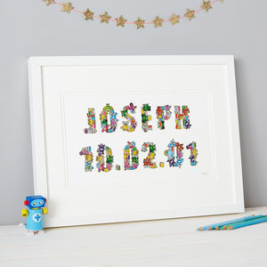 Personalised Robot Sticker Typography Framed Artwork - mixed media pictures for children