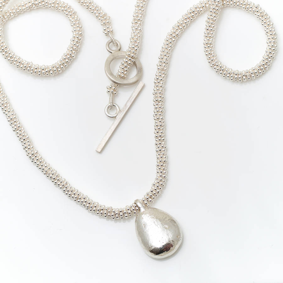 b30651612 silver beaded necklace with chunky silver pebble by alice robson ...