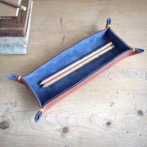 Leather And Suede Pencil Tray