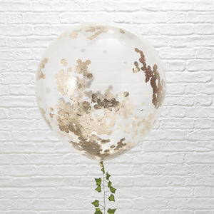 Giant Rose Gold Confetti Balloons Three Pack