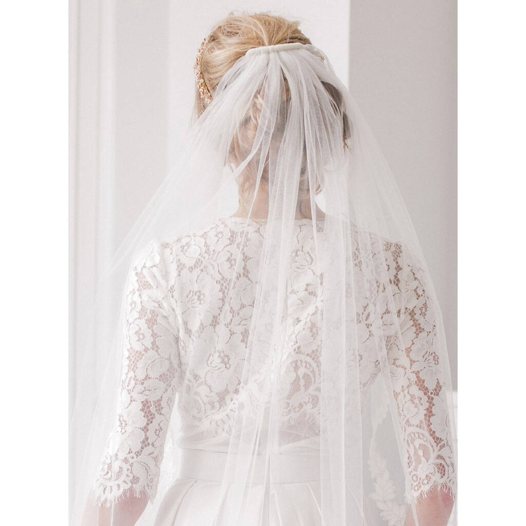 4777860aa6eff Wedding Veil Cut Edge Single Tier