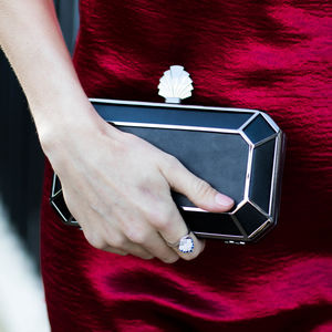 Amber Deco Clutch In Black - evening bags