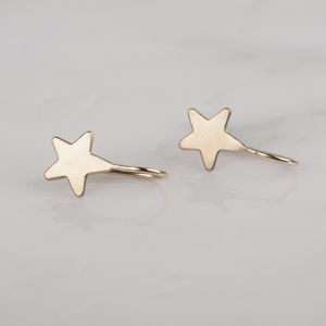 9ct Yellow Gold Star Drop Earrings