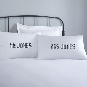 Mr And Mrs Personalised Pillowcase Set - bed linen