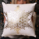 Personalised White And Gold Snowflake Cushion