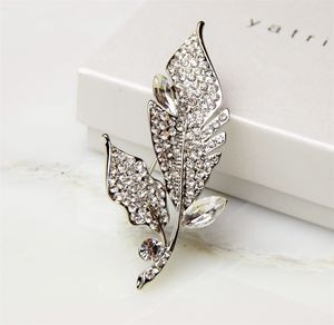 Crystal Leaf Diamante Brooch - pins & brooches
