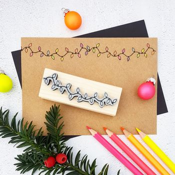 Christmas Tree Lights Rubber Stamp