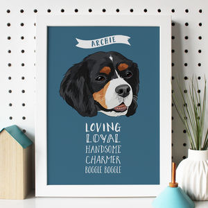 Personalised Dog Portrait With Traits - pet-lover