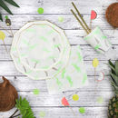 Neon And Gold Palm Tree Pattern Party Plates