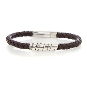 Lyric Black Men's Leather Open Scroll Bracelet - men's jewellery
