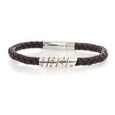 Lyric Black Men's Leather Open Scroll Bracelet