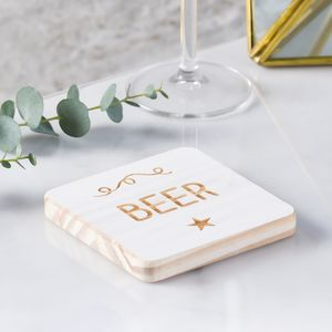 'Beer' Personalised Wooden Coaster