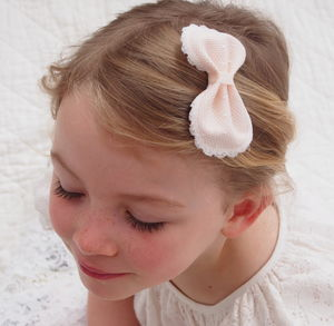 Chloe Pink Spot Bow Flower Girl Hair Clip