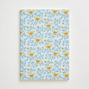 Folk Birds Pattern Notebook