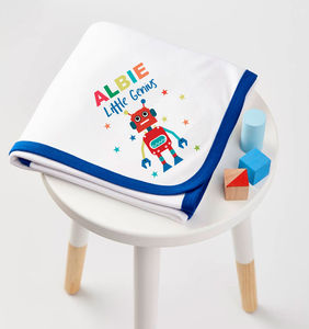 Boys Personalised Robot Blanket