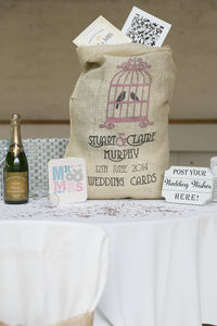 Personalised Hessian Wedding Card Sack Birdcage - room decorations