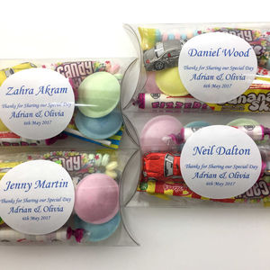 Personalised Wedding Favours With Retro Sweets