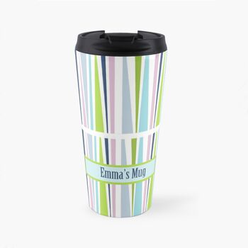 Personalised Patterned Travel Mug In Spring Colours