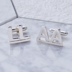 Alphabet Double Initial Sterling Silver Cufflinks
