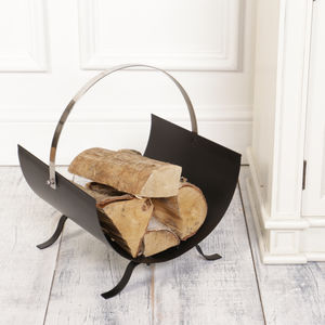 Contemporary Matt Black Log Store With Chrome Handle - storage & organisers