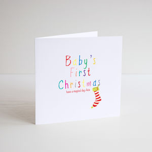 Festive Colour Personalised Christmas Card - cards