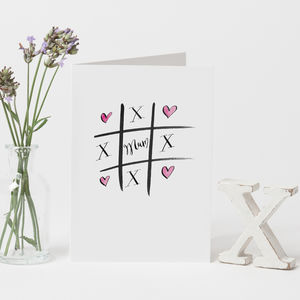 Personalised 'Hearts And Kisses, Mum' Card