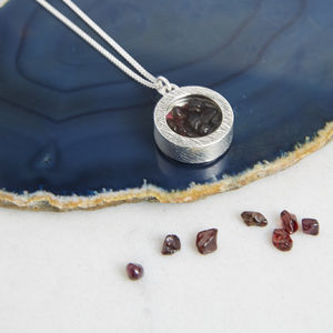 Birthstone Locket Necklace - february birthstone