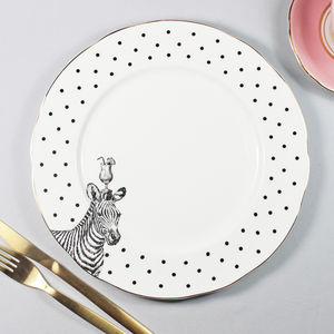 'Zebras And Cocktails' Dinner Plate - plates
