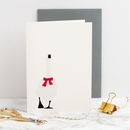 Goose With Red Felt Scarf Christmas Card