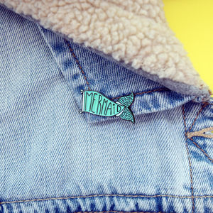 30mm Mermaid Tail Flag/Banner Enamel Pin Brooch - stocking fillers