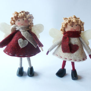Little Christmas Fairies Set Of Two - christmas decorations