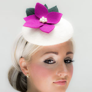 White Felt Hat With Pink Green Felt Detail