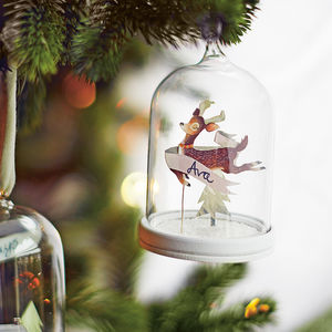 Sweet Deer Personalised Papercut Christmas Cloche - tree decorations