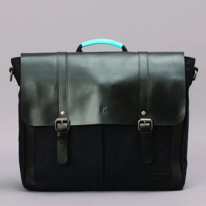 Leather And Canvas Messenger Satchel - men's accessories
