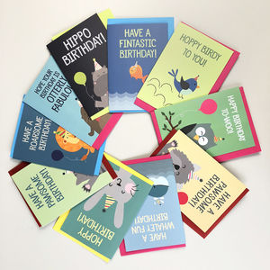 'Party Animals' Birthday Card Selection Pack