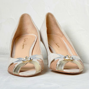 Evelyn Blush Ivory Peep Toe Wedding Shoes