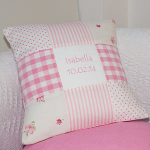 Pink Nursery Name Cushion
