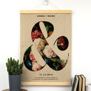 Personalised Linen Anniversary Ampersand Print