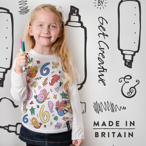Mermaid Birthday Colour In Top With Fabric Pens - girl's t-shirts