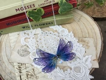 Deep Purple Rainbow Fairy Wing Necklace