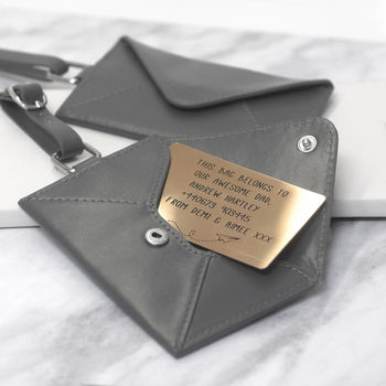 Personalised Leather Envelope Luggage Tag