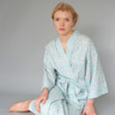 Dressing Gown Kimono In Green Vine Cotton Print