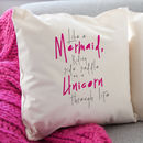 Mermaid And Unicorn Quote Cushion