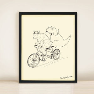 Bear And T Rex Tandem A3 Print - posters & prints